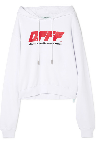 Off-White - Cropped Printed Cotton-jersey Hooded Top