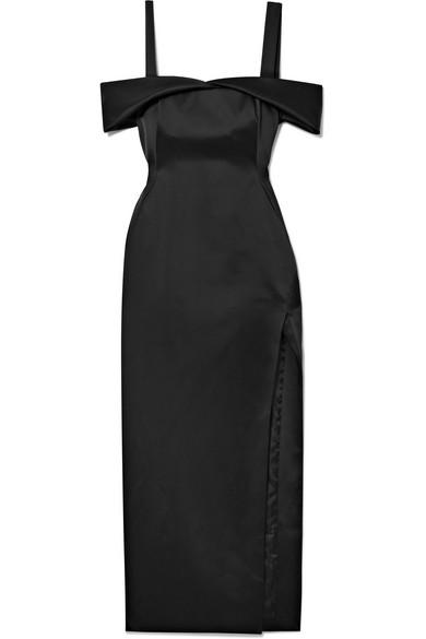 Off-White - Cold-shoulder Cutout Satin Midi Dress - Black