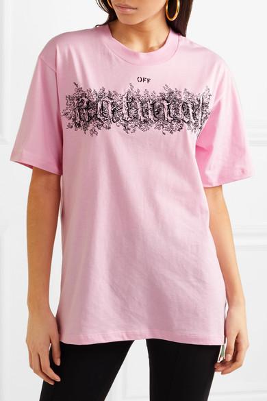 Off-White Besticktes T-Shirt aus bedrucktem Baumwoll-Jersey