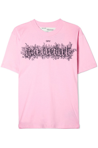 Off-White - Embroidered Printed Cotton-jersey T-shirt - Pink