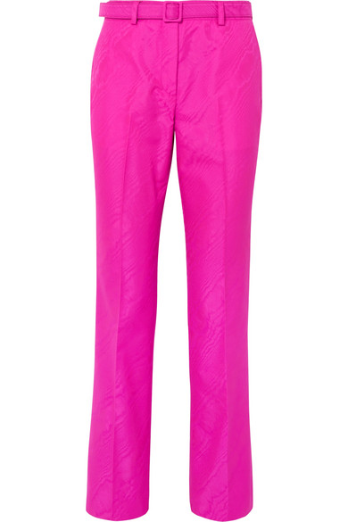 Off-White - Belted Moire Straight-leg Pants - Fuchsia