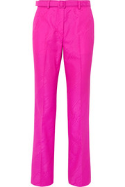 Belted moire straight-leg pants