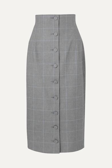 Off-White - Checked Cotton Midi Skirt - Gray