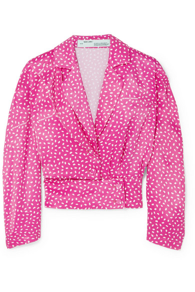 Off-White - Printed Satin Blouse - Bright pink