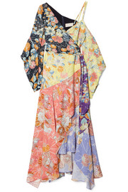 Peter Pilotto Cold-shoulder wrap-effect patchwork printed crepe dress