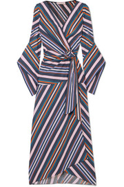 Striped cotton-poplin wrap midi dress