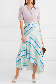 Striped jersey wrap-effect skirt