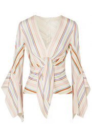Peter Pilotto Tie-detailed striped stretch-jersey blouse