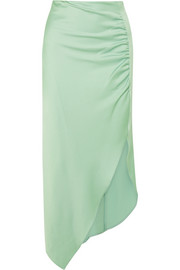 Ruched satin midi skirt