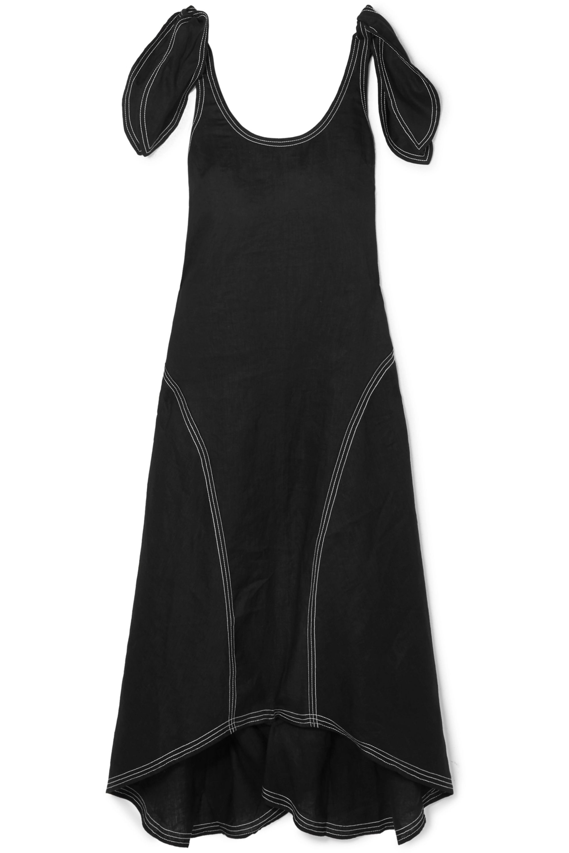PAPER London Ricki embroidered linen midi dress