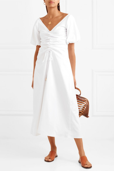 Paper London Sisi Kleid aus Popeline aus einer Baumwollmischung mit Raffungen