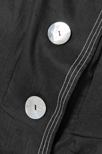 Paper London Anita besticktes Minikleid aus Leinen