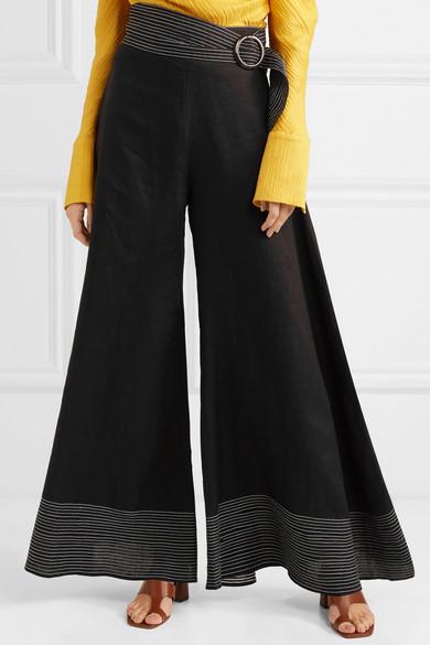 Pantalon Large En Lin à Ceinture Salina - NoirPaper London Dernière Vente En Ligne 9zstl