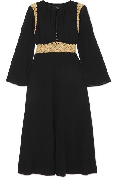 Forever Crochet-Paneled Cotton-Voile Midi Dress in Black