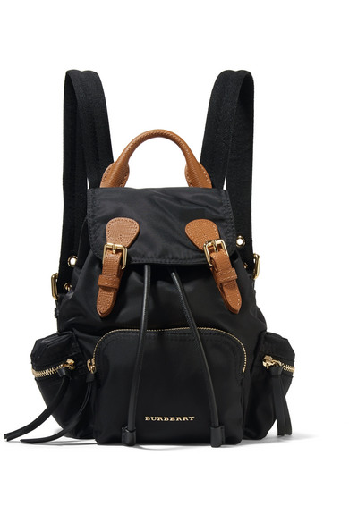 Leather-trimmed Gabardine Backpack - Burgundy Burberry FgiVn3d