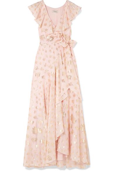 Riviera Ruffled Fil Coupé Chiffon Wrap Maxi Dress by Temperley London