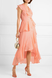 Temperley London Ruffled polka-dot silk-chiffon wrap dress