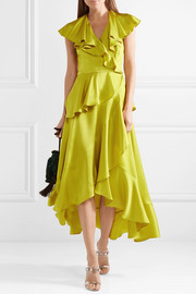 Temperley London Juliette ruffled wrap-effect satin-crepe midi dress