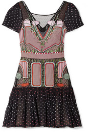 Temperley London Bourgeois silk chiffon-paneled embroidered point d'esprit mini dress