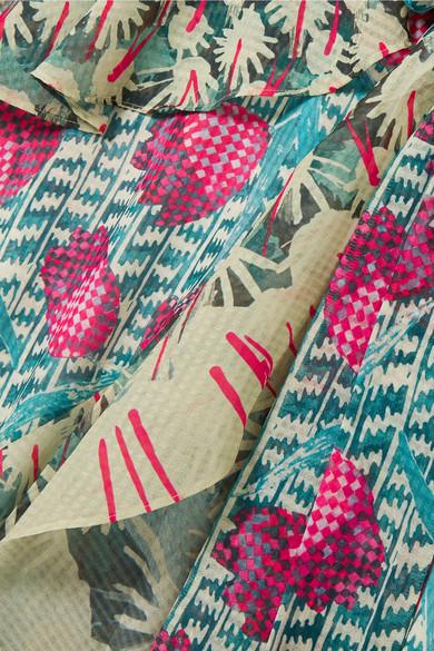 Temperley London Wickelkleid aus bedrucktem Voile mit Rüschen