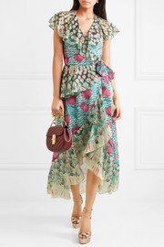 Temperley London Ruffled printed voile wrap dress