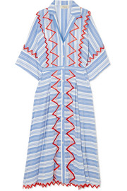Temperley London Trelliage embroidered striped voile maxi dress