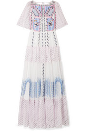 Temperley London Bourgeois embroidered point d'esprit and silk-chiffon maxi dress
