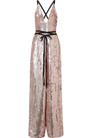 Temperley London Bardot grosgrain-trimmed sequined chiffon jumpsuit