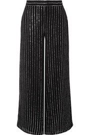 Temperley London Neri sequin-embellished georgette wide-leg pants
