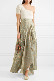 Temperley London Riviera wrap-effect fil coupé silk-blend maxi skirt