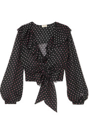 Ruffled polka-dot silk-chiffon blouse