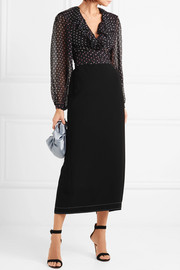 Temperley London Ruffled polka-dot silk-chiffon blouse