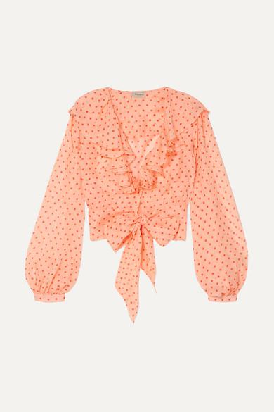 Temperley London Bluse aus Seidenchiffon mit Polka-Dots und Rüschen