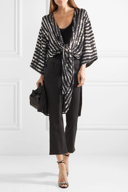 Temperley London Neri sequin-embellished georgette wrap top