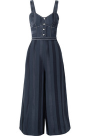 Temperley London Sail Boat cropped crepe and satin jumpsuit