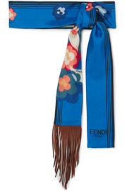Fringed leather-trimmed printed silk-twill scarf