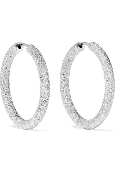 Florentine 18-Karat White Gold Hoop Earrings