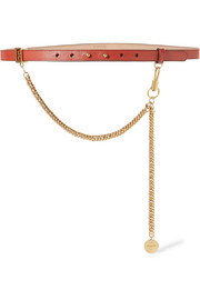 Givenchy Chain-trimmed textured-leather waist belt