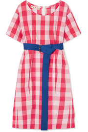 Belted gingham cotton midi dress