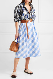 Gingham cotton-poplin midi skirt