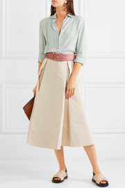 Pleated cotton and linen-blend twill midi skirt