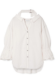 Amber oversized gathered cotton-blend shirt