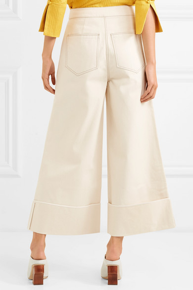 Bailey Cropped High-rise Wide-leg Jeans - Ecru Rejina Pyo FsRcSXtM