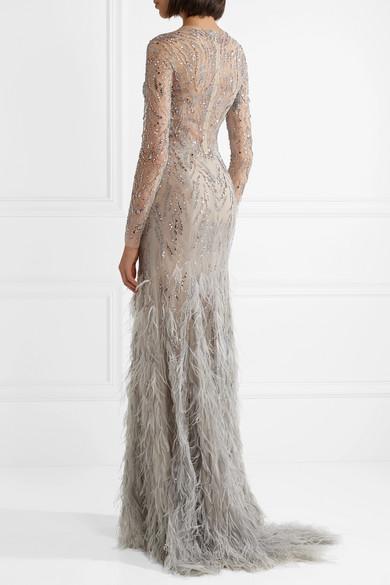 Monique Lhuillier Verzierte Robe aus Tüll