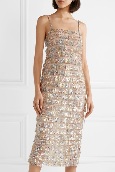 Tiered Sequin-embellished Tulle Midi Dress - Silver Monique Lhuillier hFQrWNEy