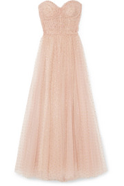 Monique Lhuillier Ruched point d'esprit tulle gown