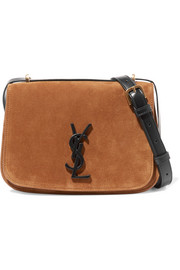 Spontini leather-trimmed suede shoulder bag