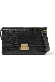 Saint Laurent Bellechasse croc-effect glossed-leather shoulder bag