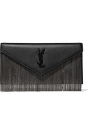 Le Sept chain-embellished leather clutch