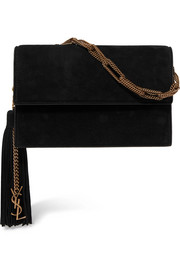 Saint Laurent Tasseled suede clutch